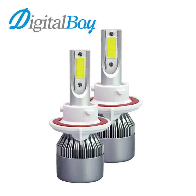 Digitalboy H13 LED Car Headlight Bulb Hi/Lo BeamCOB Chips Led Headlamp 72W 7600LM 6000K Auto Led Headlamp Bulbs Car Front Lights