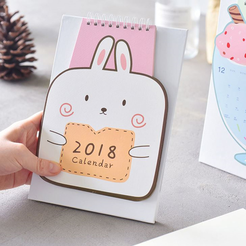 Coloffice 1PC Ice-Cream Rabbit Kawaii Cartoon Calendar Learning Schedule Periodic Planner Table 2018 Year Stationery Decorative