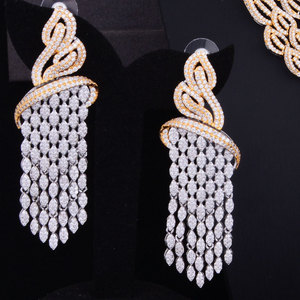 Image 3 - GODKI Luxury Tassels Drop Mixed Women Wedding Cubic Zirconia Necklace Earring Saudi Arabia Jewelry Set Jewellery Addiction