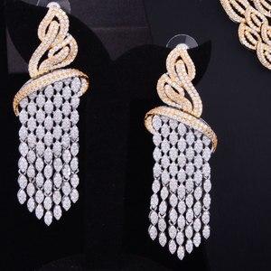 Image 3 - GODKI luksusowe frędzle spadek mieszane kobiety ślubne Cubic naszyjnik z cyrkonią kolczyki biżuteria z Arabii Saudyjskiej zestaw uzależnienie od biżuterii
