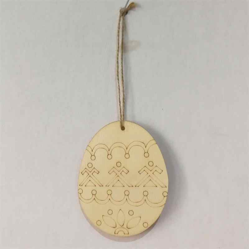 4PCS Easter Egg Wooden Hanging Pendants Tags Wooden Cutouts Unfinished Wood  Crafts With Twine For Easter Decorations D30