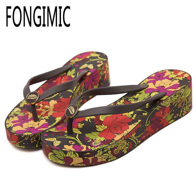 d8166eed0b45b3 placeholder Fashion summer Korea women Print Wedges thick bottom flip flops  ladies high heel no-slip