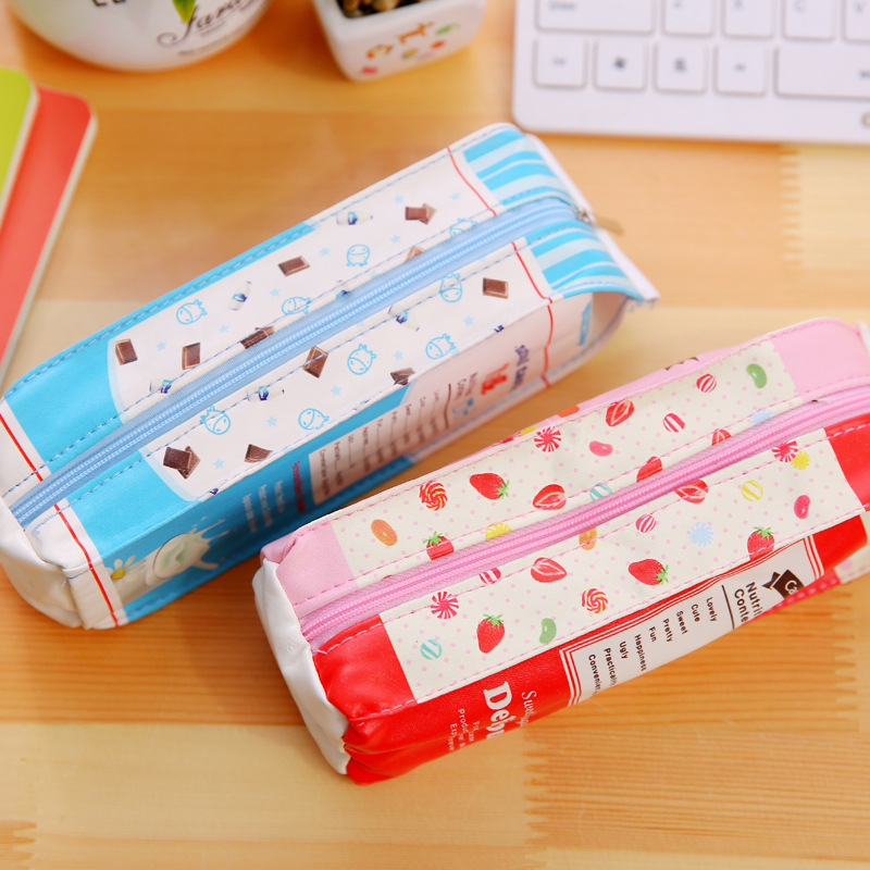 Stationery Pouch Gift Simulation Cartons Pencil Case Faux Leather Pen Bag Kawaii