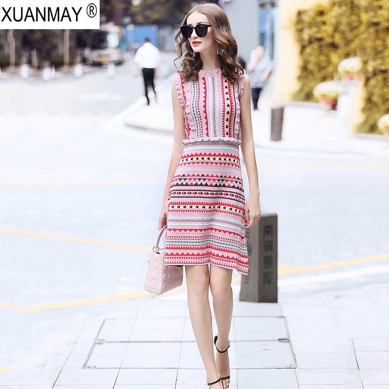 Summer Slim Love Pattern Of Knitted Jacquard Bohemia Sweater Dress Fashion Streetwear Light Blue Summer Knit Sweater Dress