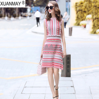 Summer Slim Love pattern of knitted jacquard Bohemia Sweater Dress Fashion Streetwear Light blue Summer Knit Sweater Dress