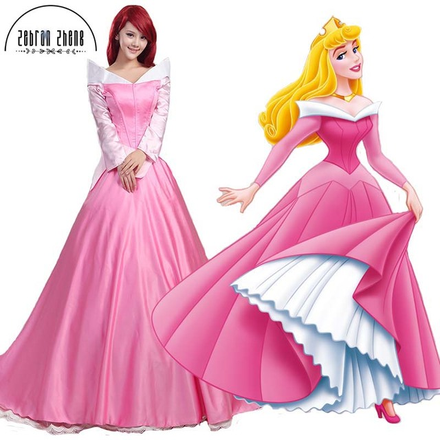 The Sleeping Beauty Aurora Princess Cosplay Costume Long Pink Dress For  Women Halloween Dress Free Shipping b1b1e75bc703