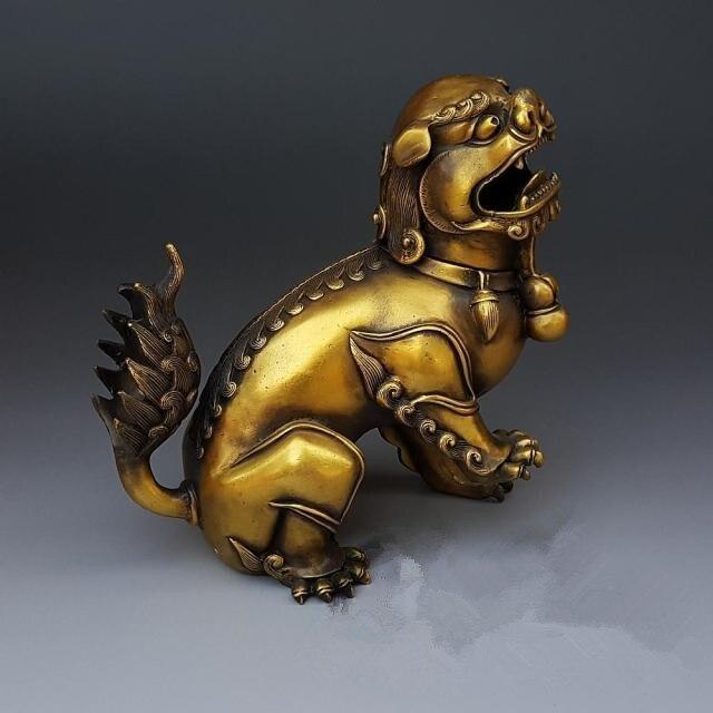 Antique bronze crafts large copper lion incense ornaments sandalwood furnace decorative antiques and Collectibles