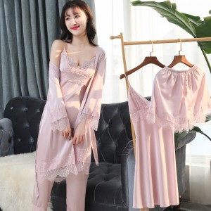 Image 3 - Women Pajamas Sets 5 Pieces Satin Sleepwear Pijama Silk Home Wear Home Clothing Sleep Lounge Pyjama With Chest Pads