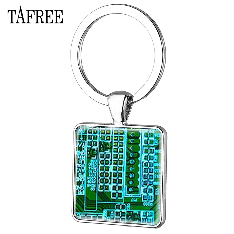 TAFREE Circuit Board pendant Printed circuit Board electronic keychain Computer board sliver plated for men gift jewelry QF18