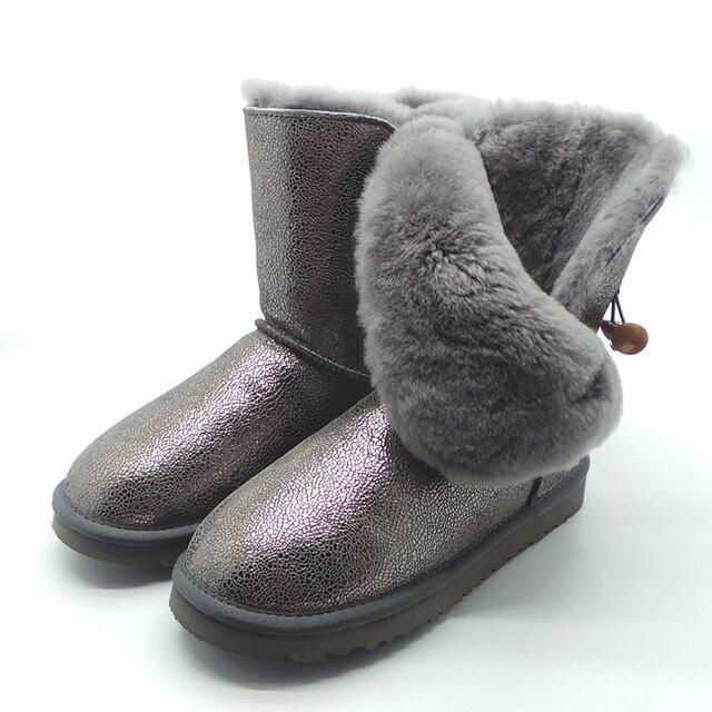 UVWP Venta Caliente de Las Mujeres Botas de Nieve de Moda de Mitad de la Pantorrilla Botas de Las Mujeres Impermeables Botas de Nieve de Cuero Genuino Botas de Invierno Cálido