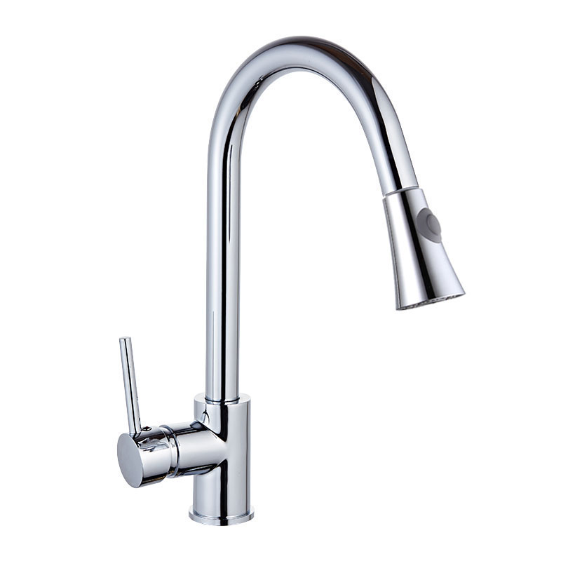 Brushed Nickel Kitchen Sink Mixer Taps Single Lever Pull Out Kitchen