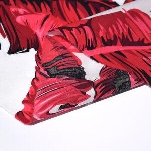 Ширина 140 см модный красный банановый лист реактивная печать и окрашивание Чистый хлопок ткань для платья telas tissus au метр tissu DIY