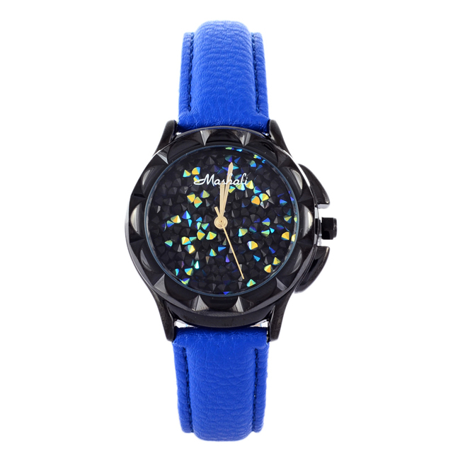 Original MASHALI Sports Designer Girls Students Watches Sparkly Crystals Dial Women Casual Wrist watch Leather Relojes 3ATM W055