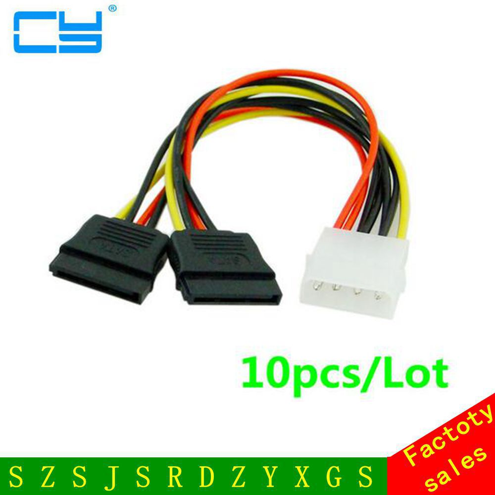 10pcs 4Pin IDE M to Dual SATA 15Pin F Serial ATA HDD Y Splitter Power Wire Cable