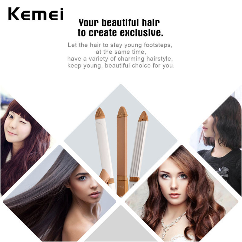 110-240V Ceramic Hair Curler Roller Straightener 3 In 1 Electric Hair Straightening Curling Irons Curl Flat Corn Clip Hairstyle