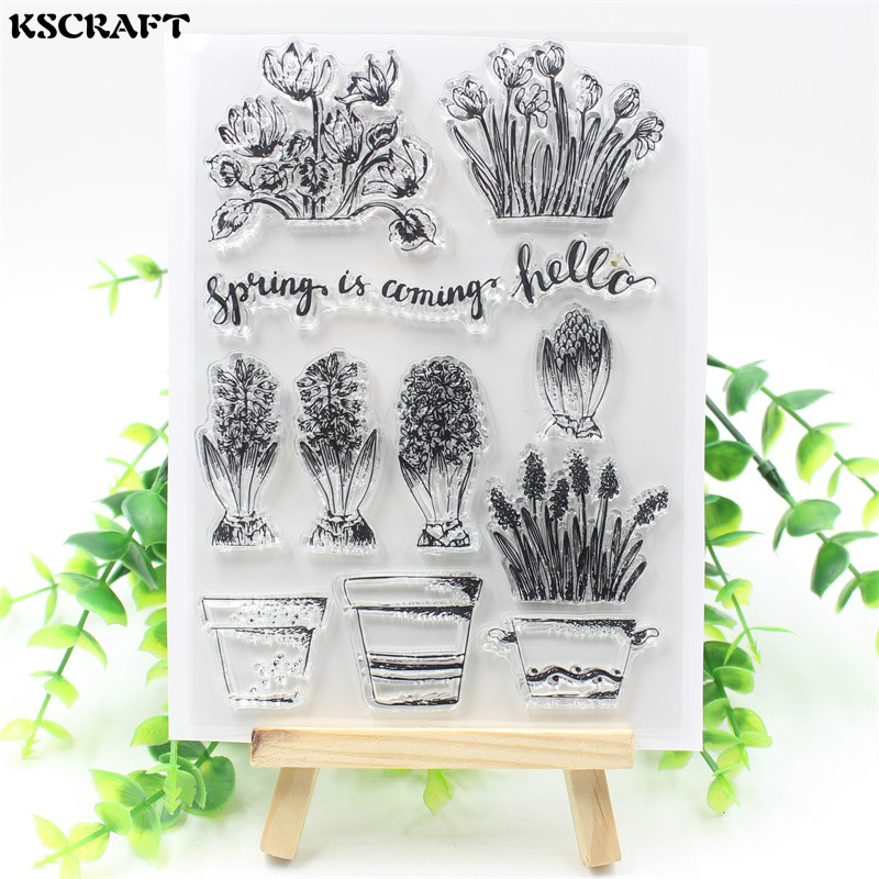KSCRAFT Spring Is Coming Transparent Clear Silicone Stamp/Seal for DIY scrapbooking/photo album Decorative clear stamp sheets lovely animals and ballon design transparent clear silicone stamp for diy scrapbooking photo album clear stamp cl 278