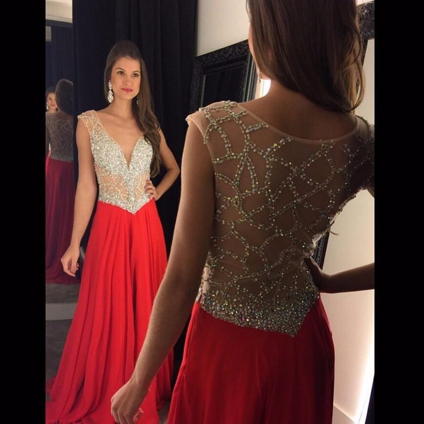 2017 Red Chiffon Luxury Beaded A-Line   Evening     dresses   Sleeveless Sexy V-Neck Prom   Dress   Vestido de noche Robe de soiree longue