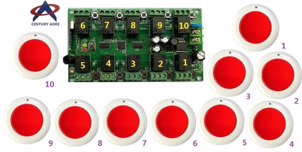 DC12V 10A 10CH RF système de télécommande sans fil 1 récepteur + 10 * rouge rond émetteurs individuels apprentissage code portes/lampe