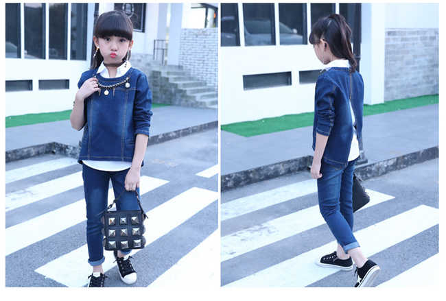 8c41fd6fac98 3 Pieces Suit Girls Jeans Clothing Set Spring Denim outfits Blue Coat White  Shirts Pants ensemble fille For 6 8 10 12 14 Years