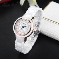Miss fox new waterproof white ceramic watch woman fashion luxury ladies bracelet top brand diamond scale quartz watch female