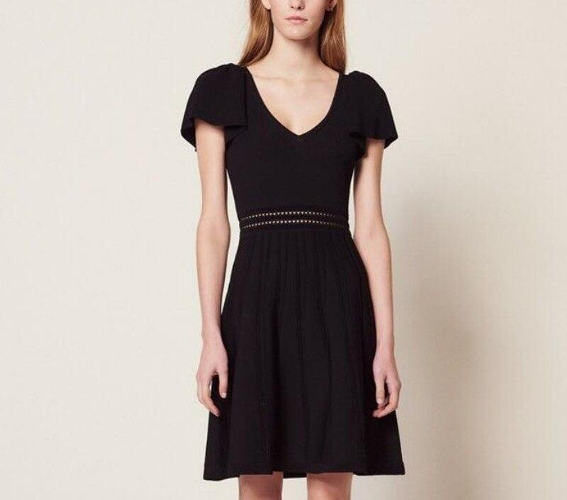 2019 新しい女性ニットミニドレスショートバタフライスリーブ V ネック甘いドレス  グループ上の レディース衣服 からの ドレス の中 1