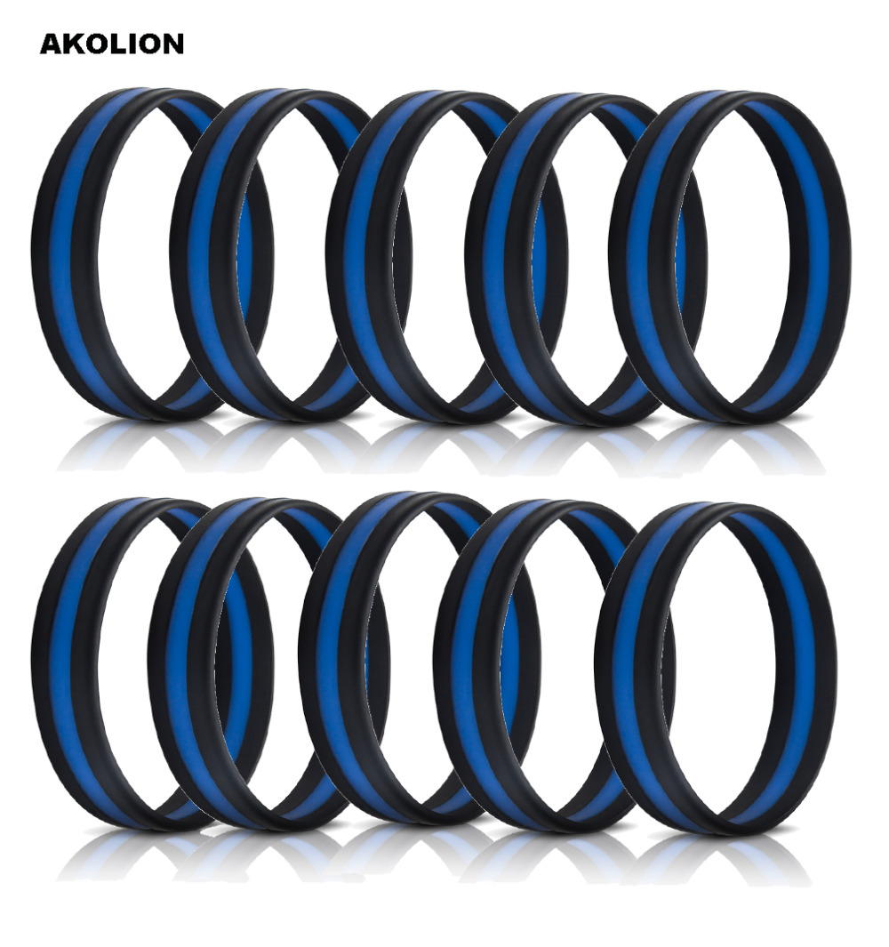 Police Officers Patrol Silicone Wristband Bracelets Emblematic Jewelry Awareness Support Thin Blue Line Slp-0009 Agreeable Sweetness Arts,crafts & Sewing