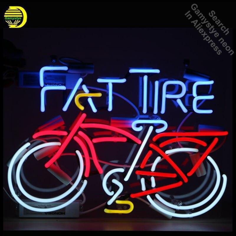 FAT TIRE велосипедов клуб неоновые вывески ручной работы неоновый лампы знак Стекло трубки знаковых неоновые вывески для дома ясно доска Профе...