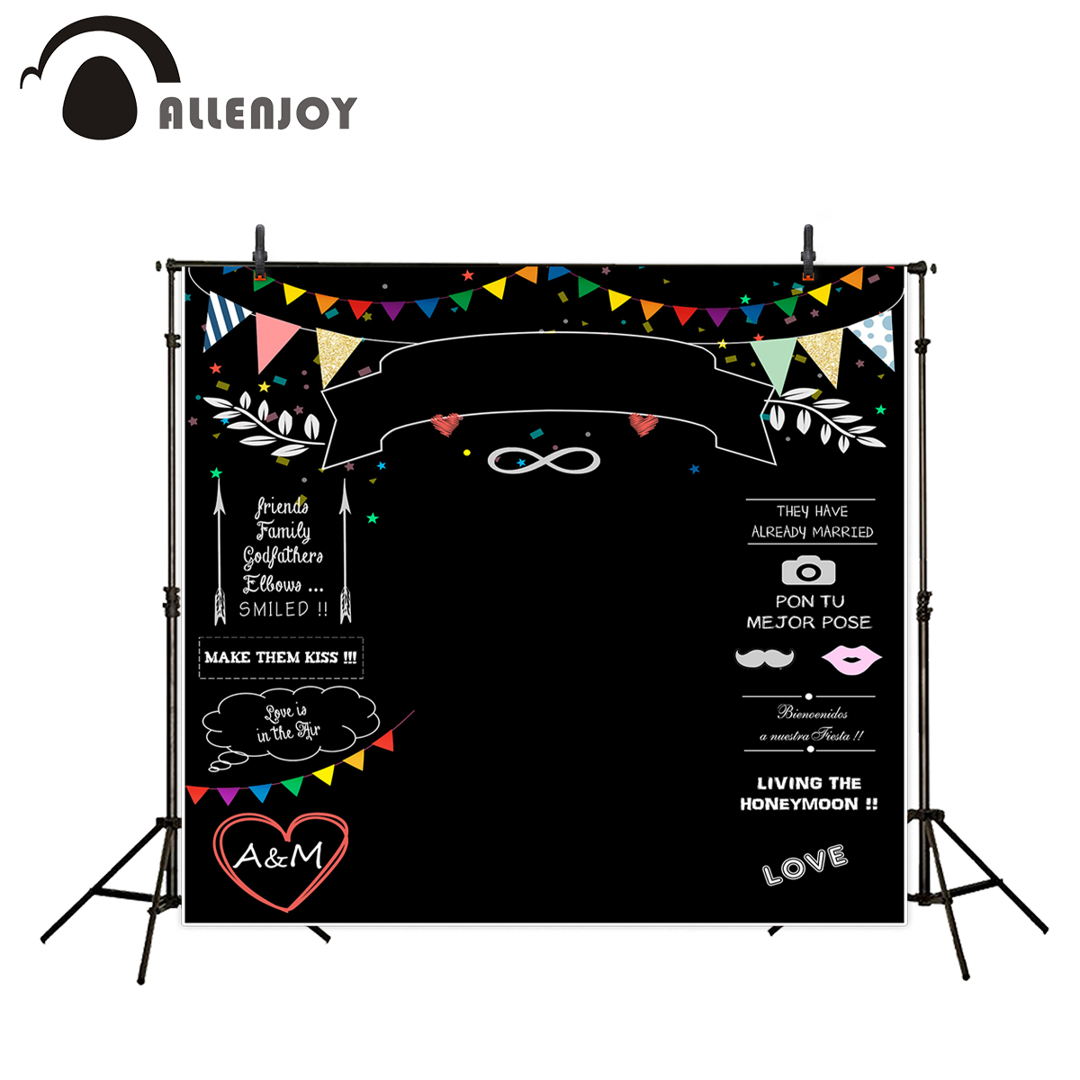 Allenjoy photography backdrops Wedding backdrop blackboard colorful flags banners love happy wedding custom photocall a photo huayi 10x20ft wood letter wall backdrop wood floor vinyl wedding photography backdrops photo props background woods xt 6396