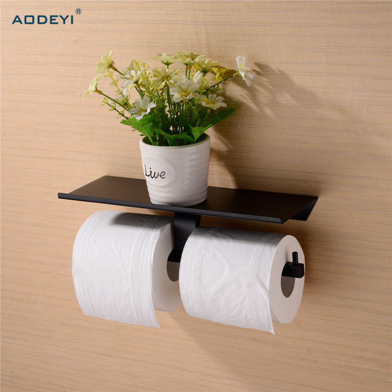 Brass Double Toilet Paper Holder Box Roll Holder Tissue Box Wall Mounted Holder Shelf Bathroom Accessories