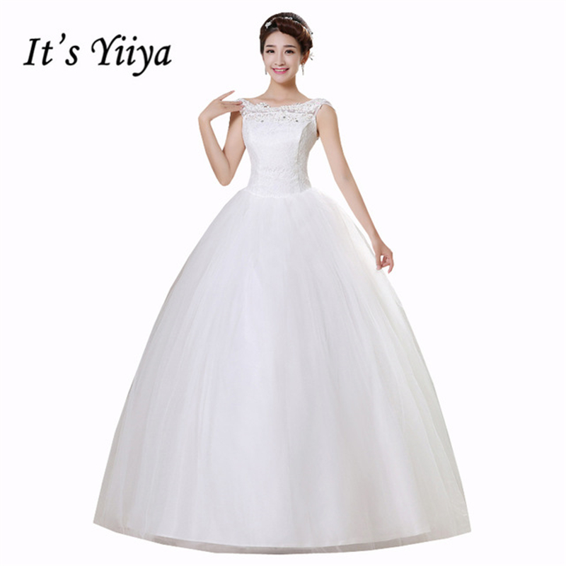 91aed8a5bb6 Online Shop It s Yiiya White Cheap Sleeveless Floor Length Wedding Dresses  Lace Boat Neck A-line Simple Bride Dress Vestidos De Novia HS164