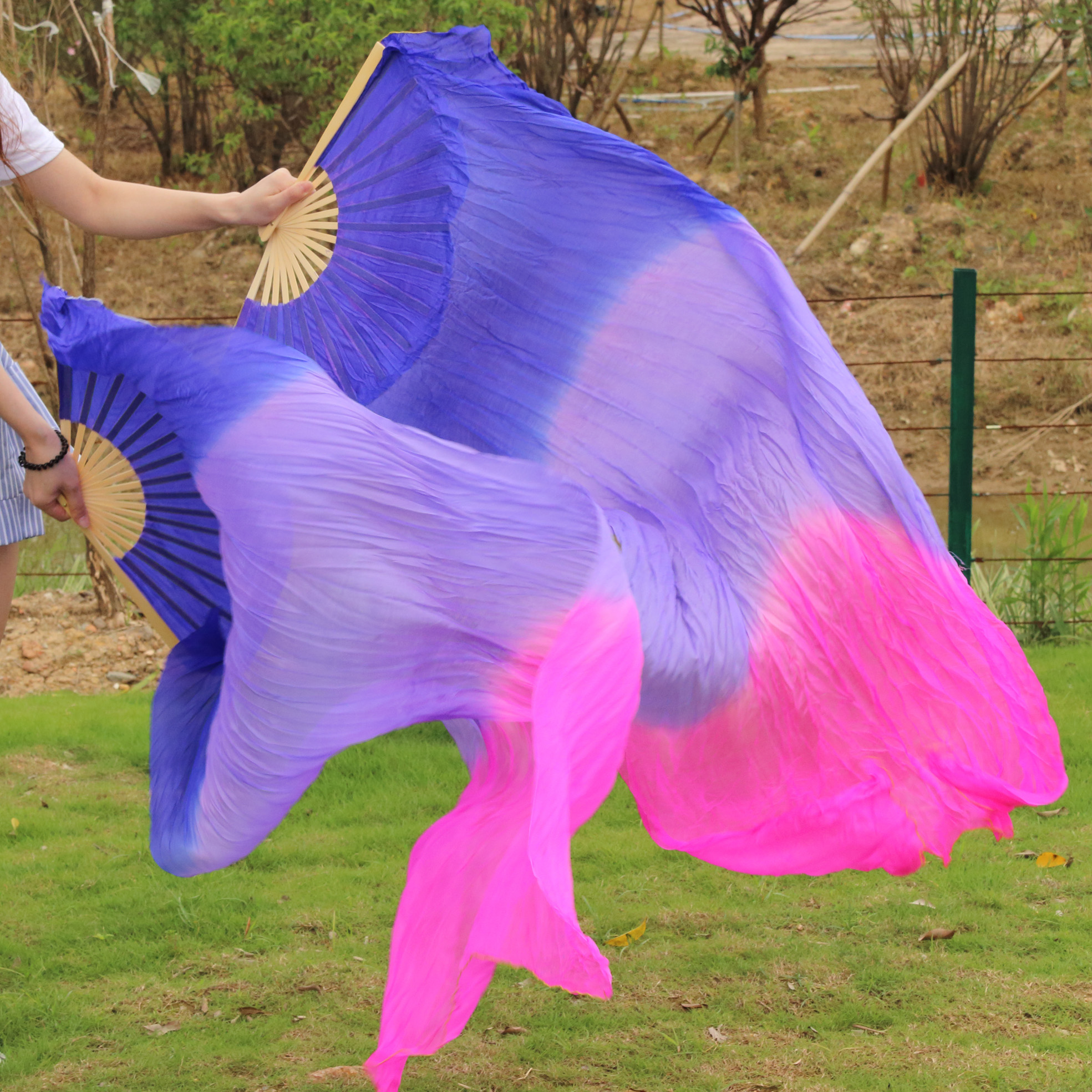 2016 High Quality Silk Belly Dance Fan Dance 100% Real Silk Veils Left+right blue Colors ROYAL BLUE LIGHT PURPLE ROSE RED