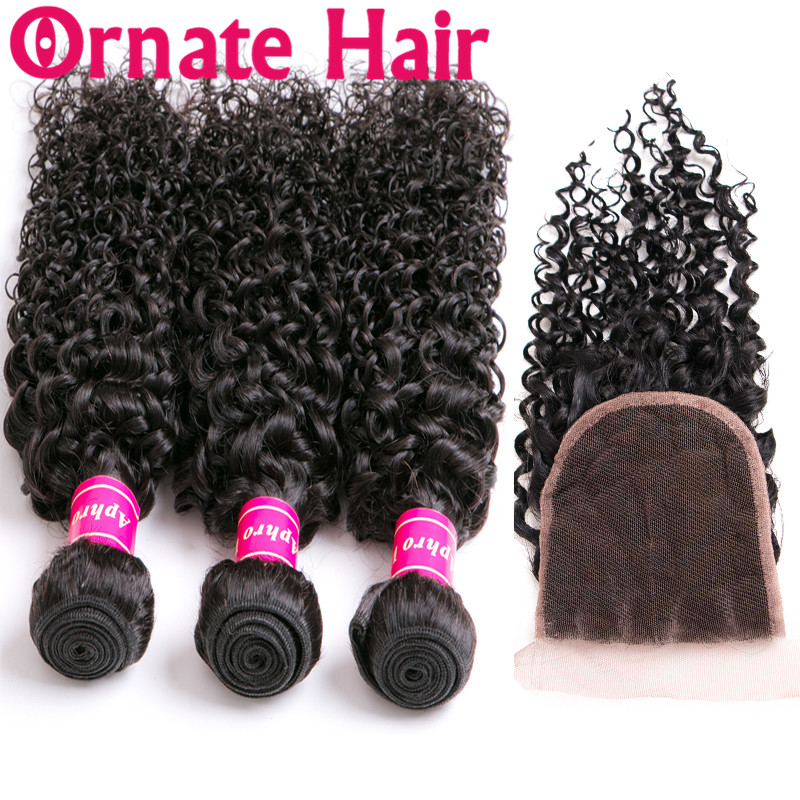 Ornate Brazilian Hair Weave Bundles With Closure Remy Human Hair Bundles With Lace Closure Kinky Curly