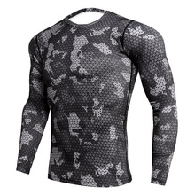 2019 Quick Dry Rashgard Male Gym Crossfit t shirt Long Sleeve Sport Shirt Men Camouflage Fitness Top Gym Training Running Shirt fitted quick dry gym long sleeve t shirt