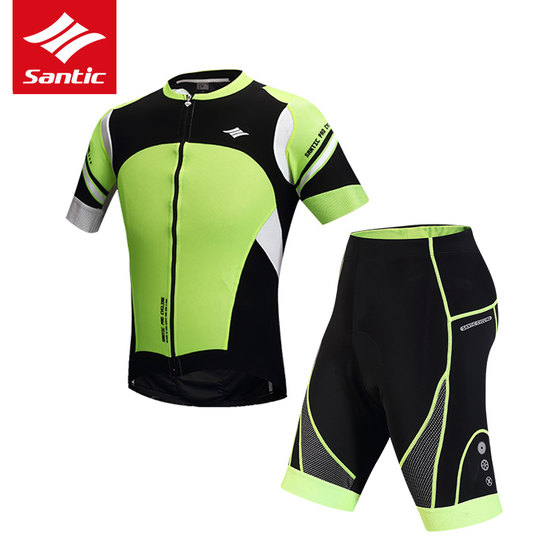 цена Santic Men Cycling Jersey Set Pro Team Sports Mountain Road Bike Jersey Tour de France Cycling Clothing Set Maillot Ciclismo онлайн в 2017 году