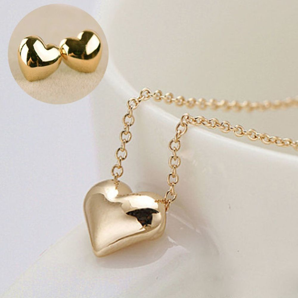 New Women Elegant Gold Love Heart Short Necklace Earring Jewelry Sets Beauty Lovely Glossy Simple Wedding Jewelry Set