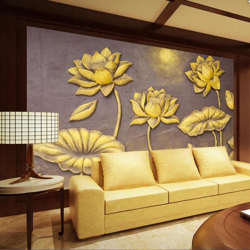 Desktop Wallpaper Hd Golden Lotus Contemporary Wall Decor Luxury Wallpaper for Walls Small Living Room Furniture Boys Room Decor