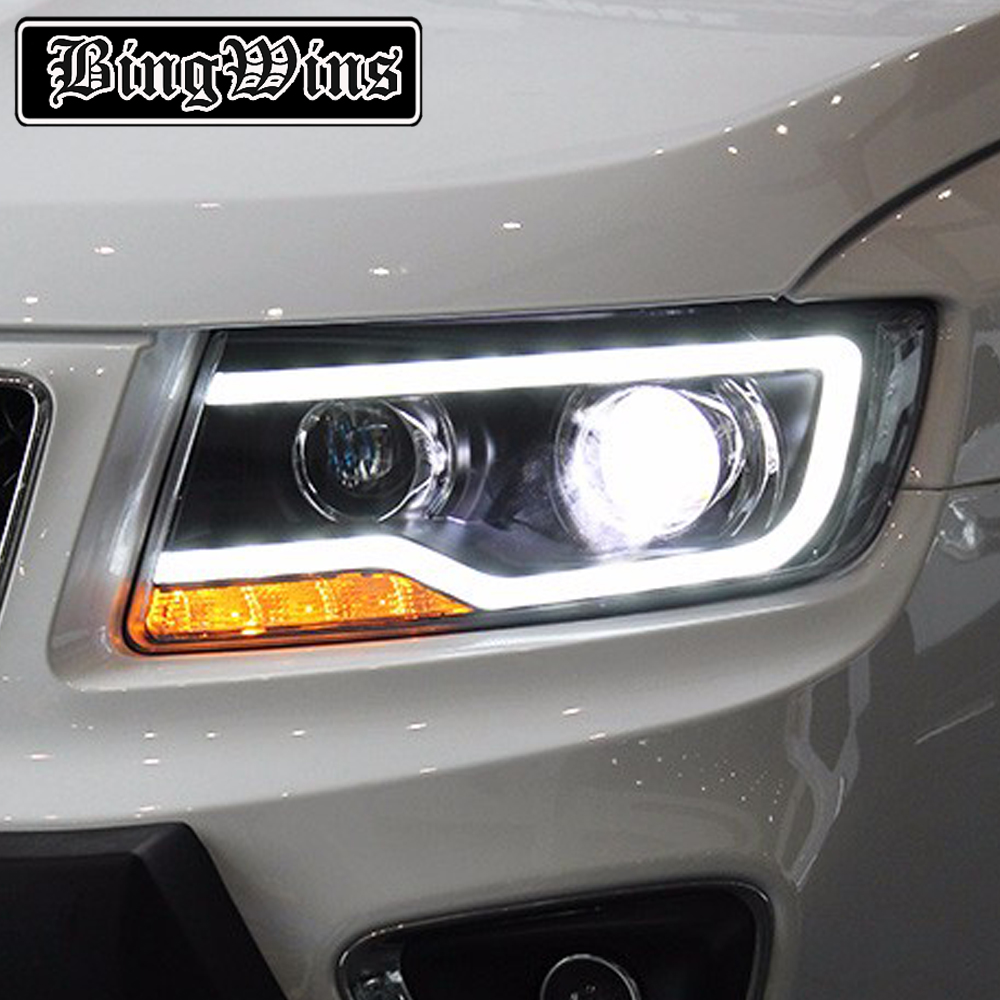 Car Styling For JEEP Compass 2011 2015 LED Headlight For Compass Head Lamp LED Daytime Running