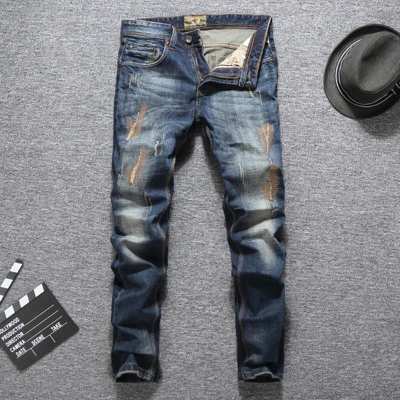 Italian Vintage Designer Men Jeans Slim Fit Patckwork Cotton Long Pants Ripped Jeans Blue Color High Quality Brand Jeans Men