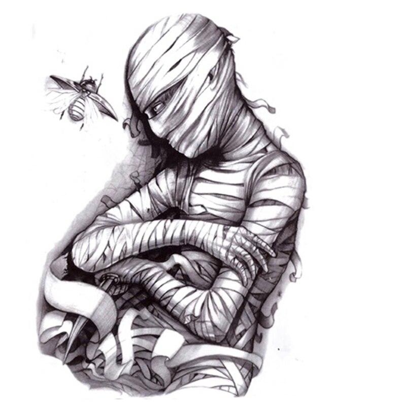 Solo Asesinato Momia Cráneo Etiqueta Engomada Del Tatuaje