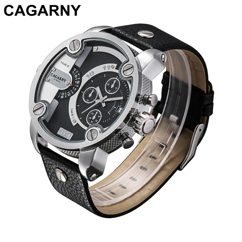 Cagarny Watches Men Luxury Brand Leather Strap Quartz Dual Time Zone Analog Date Men Sports Russian Military Oversize Wristwatch