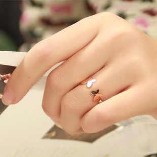 ผีเสื้อคู่ Rose Gold/แหวนเงิน 925 เงินสเตอร์ลิงแหวนผู้หญิงเครื่องประดับ Anel Anillos Aneis Bague เครื่องประดับ Anelli
