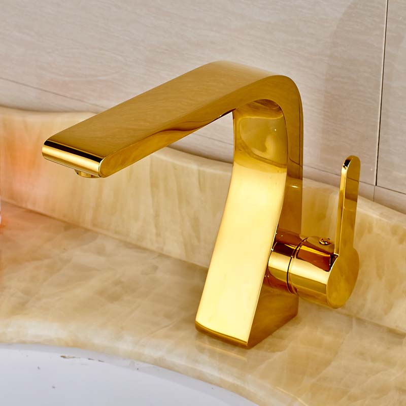 Modern Style Golden Color Bathroom Sink Faucet Single Handle Mixer Tap Solid Brass Deck Mounted modern style golden color bathroom sink faucet single handle mixer tap solid brass deck mounted
