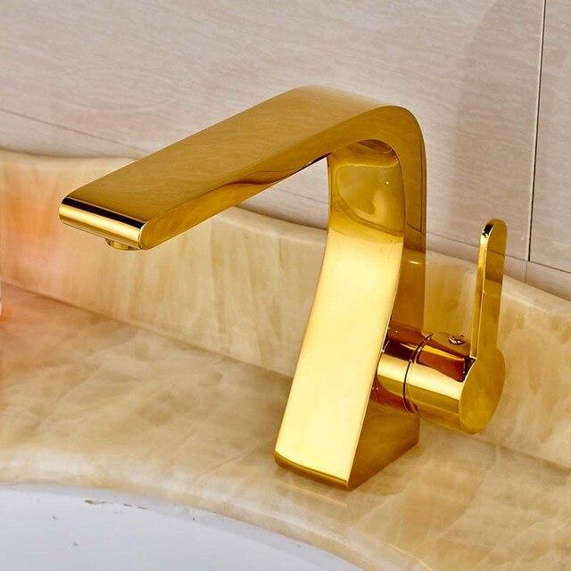 Modern Style Golden Color Bathroom Sink Faucet Single Handle Mixer