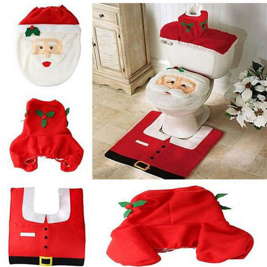 Ouneed 3PCS Fancy Santa Toilet Seat Cover And Rug Bathroom Set