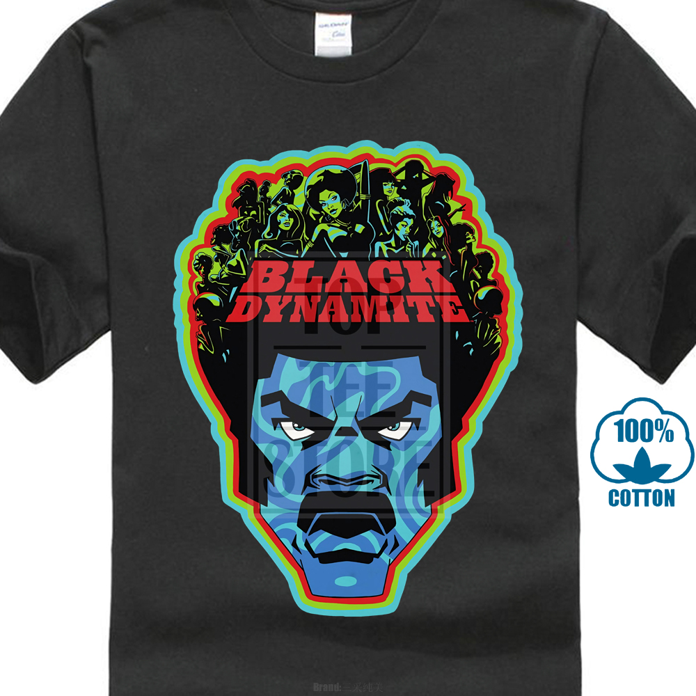 Black Dynamite Men'S Black T Shirt Action Comedy Movie Cartoon Dvd Psychedelic image