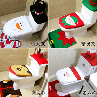 2016 New 3pcslot Christmas Design Santa Claus Toilet Seat Cover and Bathroom Non-slip Mat Christmas Ornament for Home & Shop