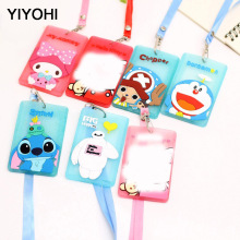 YIYOHI Cute Chis Stitch Hello Kitty Bank Credit Card Holders Unisex PVC Neck Strap Bus ID Identity Badge Lanyard