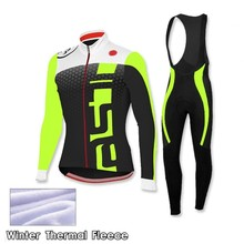 Ropa Ciclismo Invierno Winter Thermal Fleece Pro Cycling Jersey 2016 MTB Maillot Bike Men Fluorescent Green Cycling Clothing
