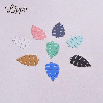 100 sztuk AC9329 cienkie kolorowe Charms kolor srebrny wisiorki z liściem malowany Metal biżuteria z mosiądzu ustalenia