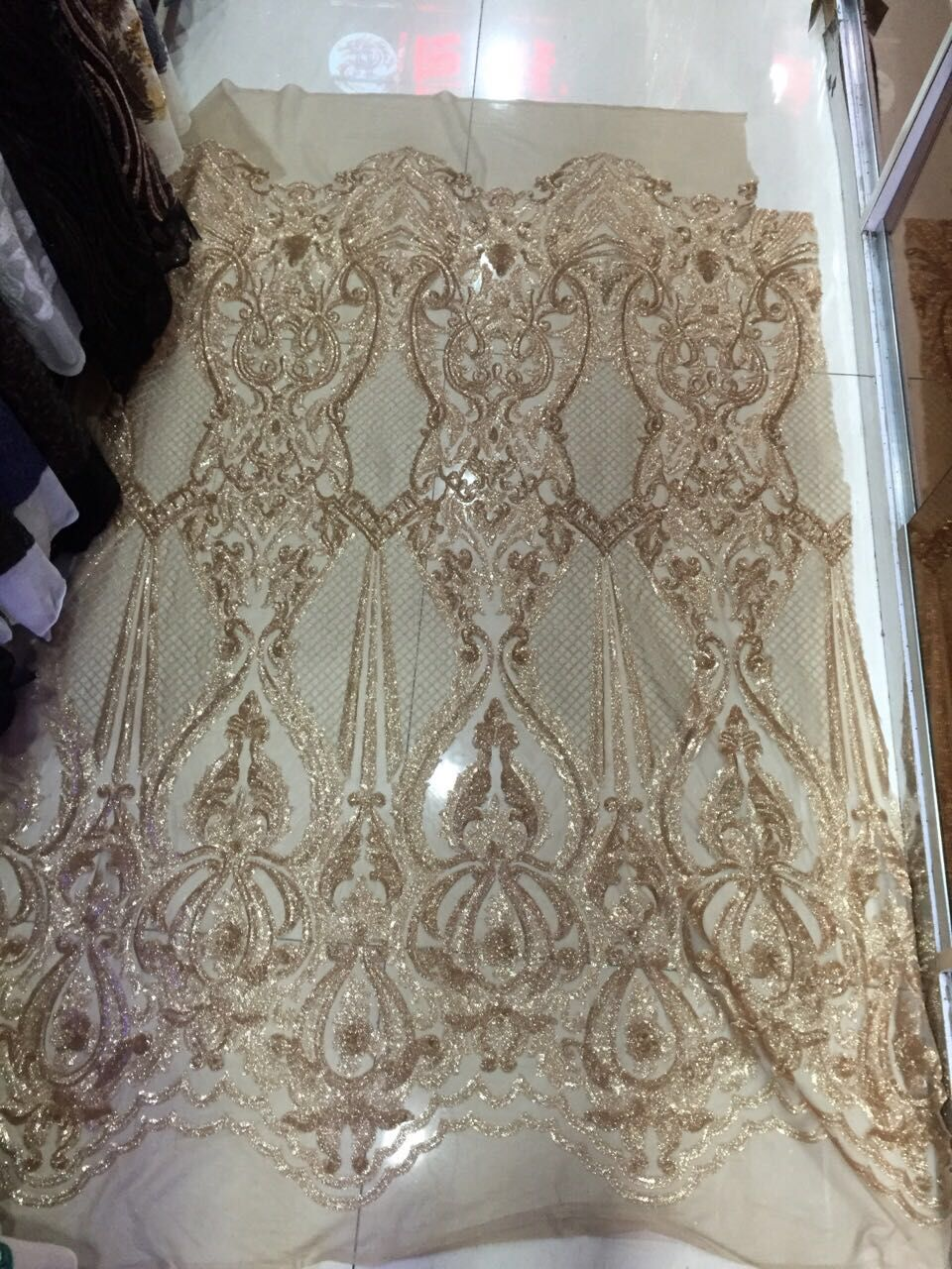 super quality with sequins french net lace fabric african sequins lace fabric David 009 for party